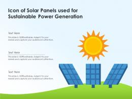 Icon Of Solar Panels Used For Sustainable Power Generation
