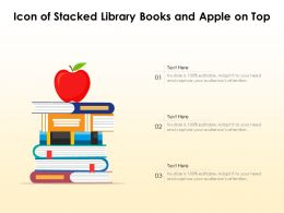 Icon Of Stacked Library Books And Apple On Top