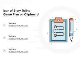 Icon Of Story Telling Game Plan On Clipboard
