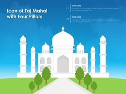 Icon Of Taj Mahal With Four Pillars
