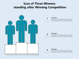 Icon Of Three Winners Standing After Winning Competition
