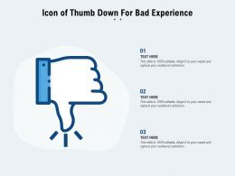 Icon Of Thumb Down For Bad Experience