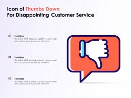 Icon Of Thumbs Down For Disappointing Customer Service