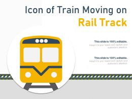 Icon Of Train Moving On Rail Track