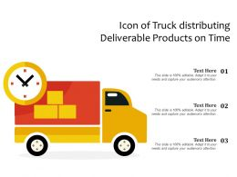 Icon Of Truck Distributing Deliverable Products On Time