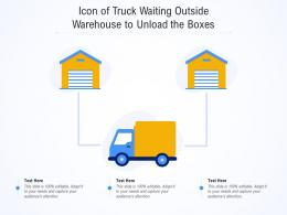 Icon Of Truck Waiting Outside Warehouse To Unload The Boxes