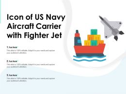 Icon Of US Navy Aircraft Carrier With Fighter Jet