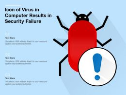 Icon Of Virus In Computer Results In Security Failure