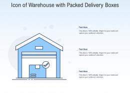 Icon Of Warehouse With Packed Delivery Boxes