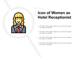 Icon Of Women As Hotel Receptionist