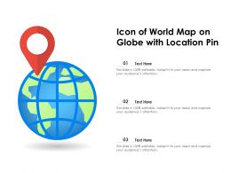 Icon Of World Map On Globe With Location Pin
