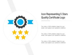 Icon Representing 5 Stars Quality Certificate Logo