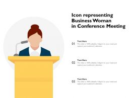 Icon Representing Business Woman In Conference Meeting
