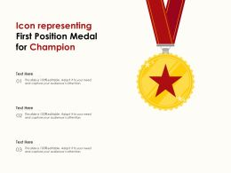 Icon Representing First Position Medal For Champion