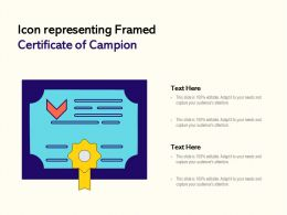 Icon Representing Framed Certificate Of Campion