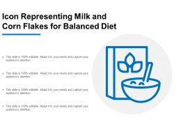 Icon Representing Milk And Corn Flakes For Balanced Diet