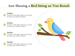 Icon Showing A Bird Sitting On Tree Branch