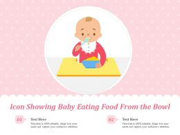 Icon Showing Baby Eating Food From The Bowl