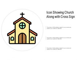 Icon Showing Church Along With Cross Sign