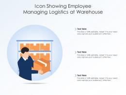 Icon Showing Employee Managing Logistics At Warehouse