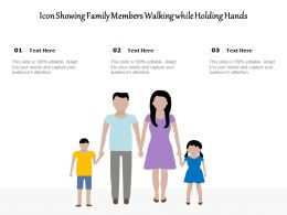 Icon Showing Family Members Walking While Holding Hands