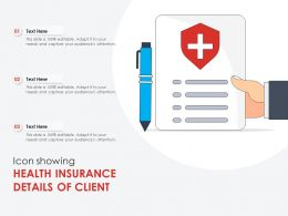Icon Showing Health Insurance Details Of Client