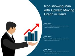 Icon Showing Man With Upward Moving Graph In Hand