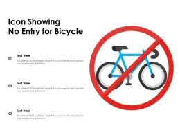 Icon Showing No Entry For Bicycle