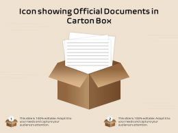 Icon Showing Official Documents In Carton Box