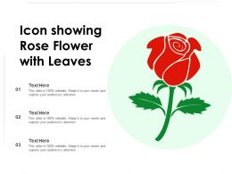Icon Showing Rose Flower With Leaves