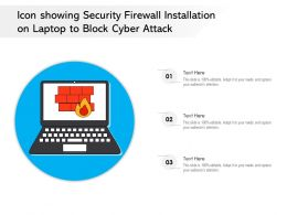 Icon Showing Security Firewall Installation On Laptop To Block Cyber Attack