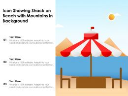 Icon Showing Shack On Beach With Mountains In Background
