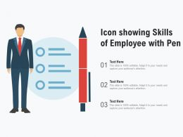 Icon Showing Skills Of Employee With Pen