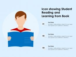 Icon Showing Student Reading And Learning From Book
