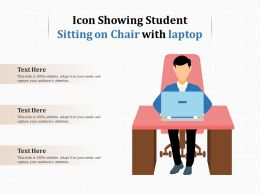 Icon Showing Student Sitting On Chair With Laptop