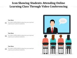 Icon Showing Students Attending Online Learning Class Through Video Conferencing
