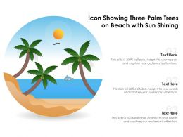 Icon Showing Three Palm Trees On Beach With Sun Shining