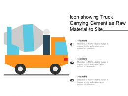 Icon Showing Truck Carrying Cement As Raw Material To Site