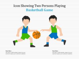 Icon Showing Two Persons Playing Basketball Game