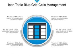 Icon Table Blue Grid Cells Management