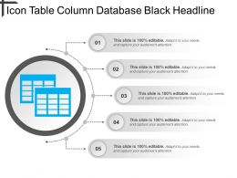 Icon Table Column Database Black Headline