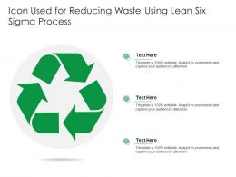 Icon Used For Reducing Waste Using Lean Six Sigma Process