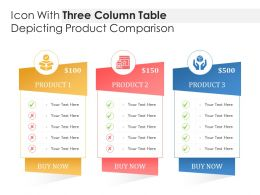 Icon With Three Column Table Depicting Product Comparison