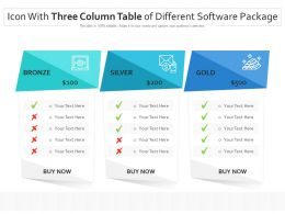 Icon With Three Column Table Of Different Software Package