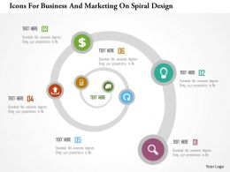 Icons For Business And Marketing On Spiral Design Flat Powerpoint Design