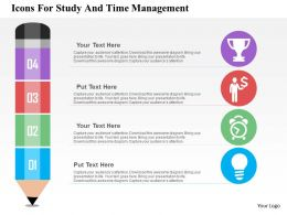 Icons For Study And Time Management Flat Powerpoint Design