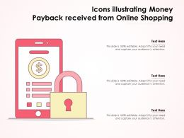 Icons Illustrating Money Payback Received From Online Shopping