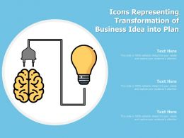 Icons Representing Transformation Of Business Idea Into Plan