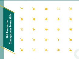 Icons Slide Bid Evaluation Management Ppt Powerpoint Presentation Layouts Portrait