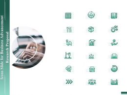 Icons Slide For Business Advancement Research Proposal Ppt Gallery